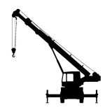 Crane Silhouette on a white background. Royalty Free Stock Images