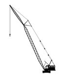 Crane Silhouette on a white background. Royalty Free Stock Photography