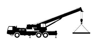 Crane Silhouette on a white background. Royalty Free Stock Image