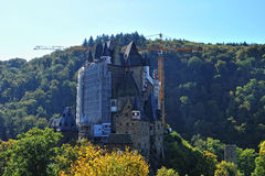 Crane on site at Eltz castle in Germany Royalty Free Stock Photography