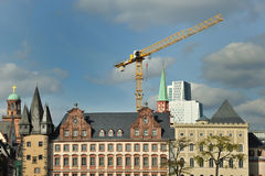 Crane on site in Frankfurt city Royalty Free Stock Images