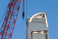 Crane with Skyscrapers Stock Image
