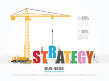 Crane and strategy building. Infographic Template. Vector Illustration stock illustration