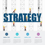Crane and strategy building. Infographic Template. Vector Illustration royalty free illustration