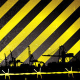 Crane stripe. Crane silhouette with yellow and black stripes and barbwire