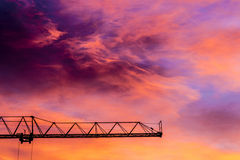 Crane at sunset Royalty Free Stock Images