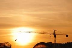 Crane at sunset Stock Image
