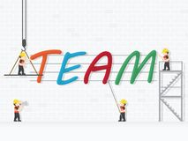 Crane and team building. Infographic Template. Vector Illustration stock illustration