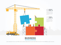 Crane and team building. Stock Images