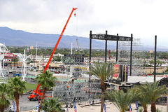 Crane. Tearing down the stadium used at the Rock In Rio USA festival in Las Vegas Stock Photography