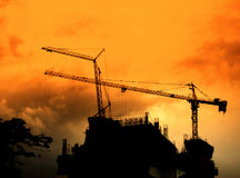 Crane on tower silhouette Stock Image