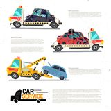 Crane towing truck with broken or damage car. Car repair service. Vector illustration Stock Image