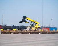 Train yard crane Royalty Free Stock Image