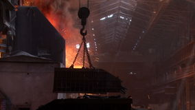 Crane transports the metal stock video