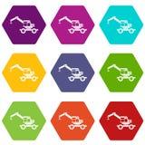 Crane truck icon set color hexahedron Stock Photos
