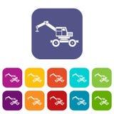 Crane truck icons set flat Stock Image