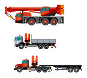 Crane truck set. Flat style cranes mounted on trucks. Vector crane truck contruction set. Vector  illustration Stock Image