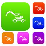 Crane truck set color collection Royalty Free Stock Photo