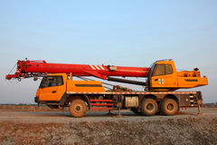 Crane truck. Stopped on the dirt road Royalty Free Stock Photography