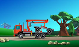 Crane truck for timber. Truck with crane hydraulic arm dolly trailer on the forest background. Vector illustration Royalty Free Stock Photos