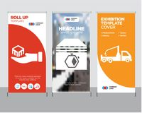 Crane truck, Up arrows couple, Package delivery in hand roll up. Crane truck modern business roll up banner design template, Up arrows couple creative poster Royalty Free Stock Photo