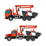 Crane trucks for timber. Trucks with crane hydraulic arm dolly trailer on the white background. Vector  illustration Royalty Free Stock Photos