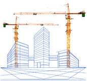 Crane and two point perspective of building in construction Stock Photo