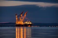 Crane Vessel. Oil platform installation crane vessel in Burgas bay Royalty Free Stock Photography