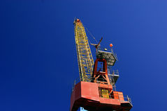Crane View. An unusual view of a crane from behind and below the crane Royalty Free Stock Images
