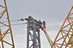 Crane. The View of a 600 tonne crane and the landing place for its load Stock Photo