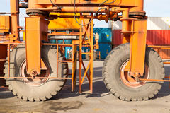 Crane wheel. Detail view of container loader crane from the seaport Royalty Free Stock Images