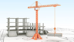 Crane on white. Crane on the construction site Royalty Free Stock Images