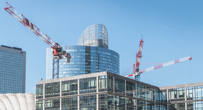 Crane who are working on the construction of new buildings in th Stock Photography