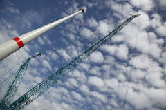 Crane and wind turbine Stock Photo