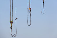 Crane wire with steel hook stock photography