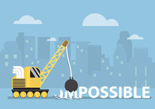 Crane With Wrecking Ball Making The Impossible Possible Royalty Free Stock Image