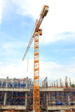 The crane. The crane is working for building Royalty Free Stock Photography