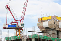 Crane Working Building In City On Sky. Royalty Free Stock Images