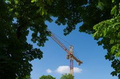 Crane working on the construction. Crane inside green tree frame Royalty Free Stock Image