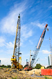 Crane working on a Construction site. Stock Photo