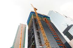 Crane working at a construction site of a new financial center - Seoul, South Korea Royalty Free Stock Photography