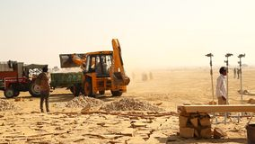 Crane working in the Desert stock footage