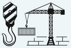 Crane working and hook of a crane Royalty Free Stock Photo