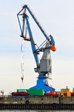 Crane working in port Stock Photo