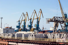Crane working in port Stock Image
