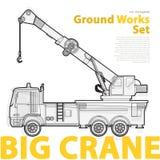 Crane, yellow and orange typography set of ground works machines vehicles. Stock Photo