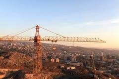 Crane and Yerevan Stock Image