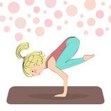 Crane yoga pose. Royalty Free Stock Image