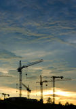 Cranes. Silhouette on the sunset Royalty Free Stock Photography
