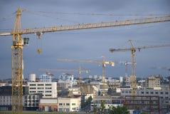 Cranes. Cityscape with construction cranes in Nantes, France Stock Photos